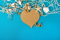 Brown heart with seashell and starfish Stock Photography