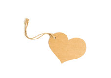 Brown heart tag isolate on white with clipping path, tag made fr Royalty Free Stock Photos