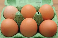 Brown hen& x27;s eggs in a green recyclable carton or box, shallow depth of field. Brown hen& x27;s eggs in a green recyclable carton or box, shallow depth Royalty Free Stock Image