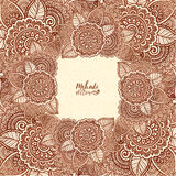 Brown henna colors vector floral square frame in Indian mehndi tattoo style Stock Photos