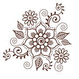 Brown Henna Flower Pattern Spiritual Illustration 1 Royalty Free Stock Image