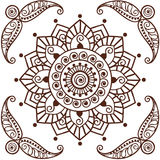 Brown Henna Flower Pattern Spiritual Illustration 2 Royalty Free Stock Images