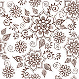 Brown Henna Lotus Repeating Pattern Spiritual Illustration 1 Stock Photos