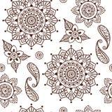 Brown Henna Lotus Repeating Pattern Spiritual Illustration 2 Fotografía de archivo