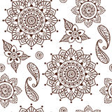 Brown Henna Lotus Repeating Pattern Spiritual Illustration 2 Stock Photography