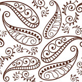 Brown Henna Paisley Repeating Pattern Illustration 1 Photographie stock