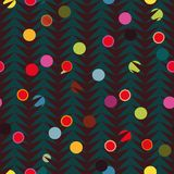 Brown herringbone pattern with colourful dots. royalty free illustration