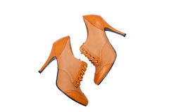 Brown high heals shoes on a white background Royalty Free Stock Photo