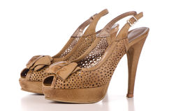 Brown high heel women shoes Stock Photos