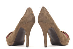 Brown High Heels. On a White Background royalty free stock images