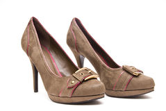Brown High Heels. On a White Background royalty free stock photography