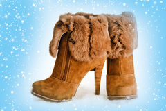 brown high heels ankle boots with fur Royalty Free Stock Photo