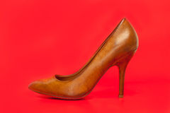 Brown high heels shoes Royalty Free Stock Image