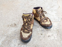 Brown hiking boots on the floor Stock Photo