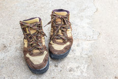 Brown hiking boots on the floor Royalty Free Stock Photo