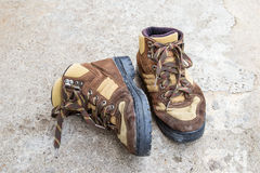 Brown hiking boots on the floor Stock Image