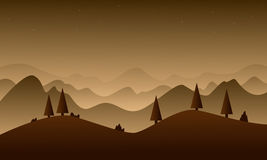 Brown hill nature for game background. Vector art vector illustration