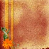 Brown-Hintergrund mit Blumen Stock Abbildung