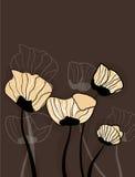 Brown-Hintergrund mit Blumen Lizenzfreie Stockfotos