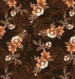 Brown-Hintergrund mit gezeichnet von den braunen Blumen Stockfotos
