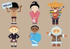 Brown-Hintergrund mit Satz der unterschiedlichen Nationalität der Personen Lizenzfreie Stockfotos