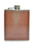 Brown hip flask isolated Stock Image