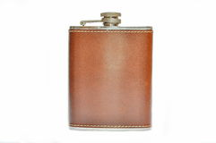 Brown hip flask isolated Stock Photography