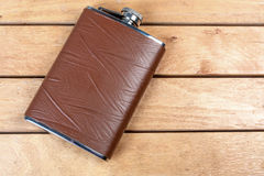 Brown hip flask Royalty Free Stock Images