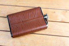 Brown hip flask Royalty Free Stock Photography