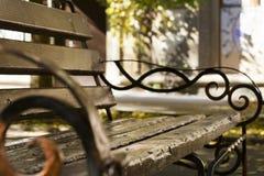 Brown-Holzbank im Park Stockfoto