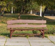 Brown-Holzbank im Stadtpark lizenzfreie stockfotos