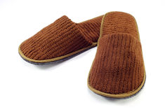 Brown home slippers Stock Photos