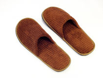 Brown home slippers Stock Photo