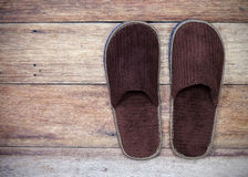 Brown home slippers Royalty Free Stock Photos