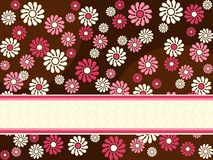 Brown horizontal retro banner with pink flowers Stock Photos