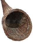 A brown horn style woven container stock photography