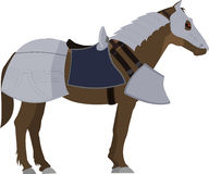 Brown Horse in armor Stock Image