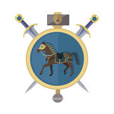 Brown Horse in Gold Circle. Isolated Avatar Icon. With swords. Steady strong horse. Stylized fantasy character. War concept. Part of series of game objects in Royalty Free Stock Photo