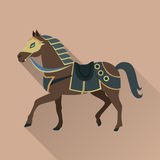 Brown Horse in Gold Collar. Isolated Avatar Icon. Brown horse with long shadow. Isolated avatar icon with swords. Steady strong horse. Stylized fantasy character Stock Images