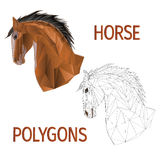 Brown horse head polygons coloured and outline vector vector illustration
