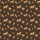 Brown horses seamless pattern Royalty Free Stock Photo