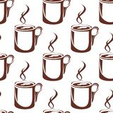 Brown hot coffee cups seamless pattern Royalty Free Stock Photo