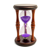 Brown hourglass with violet sand isolated on white backghound Stock Photo