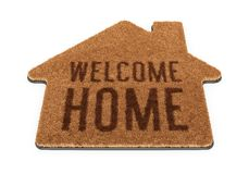 Brown House Shape Welcome Mat Stock Image