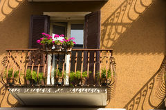 Brown house shutters decorated balconies royalty free stock photos