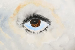 Brown human eye is painted in watercolor on a  background. Brown human eye is painted in watercolor on a colored background Royalty Free Stock Images
