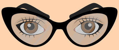 Brown human eyes with glasses. Brown human eyes in cartoon style with glasses royalty free illustration