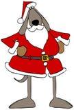 Brown-Hund, der eine Santa Claus-Ausstattung trägt lizenzfreie abbildung