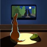 Brown-Hundeheulenuhren Fernsehrückseitenansicht Vektorillustration Stockfotografie