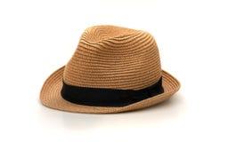 Brown-Hut auf weißem Hintergrund stockbilder